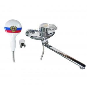 РОССИЯ - Смеситель в ванную длинный нос, ручка и лейка с гербом , с дивертором на корпусе шаровый , код: 2770